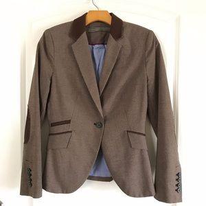 Zara Houndstooth Blazer Jacket with Elbow Patches